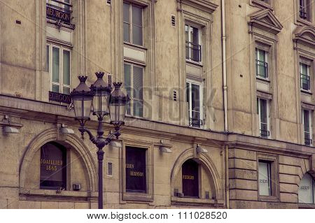 Close up shot of architecture detail in Paris, France