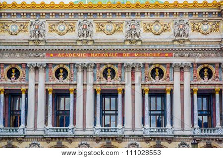 Close up shot, architecture detail, National Academy of Music, Paris, France