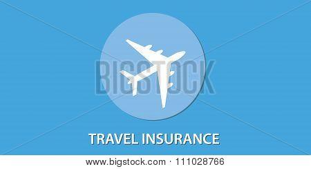 travel insurance blue icon aeroplane