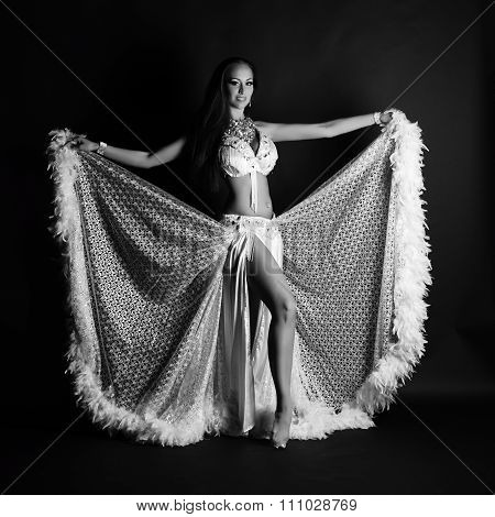 Beautiful Woman In White Belly Dance Costume