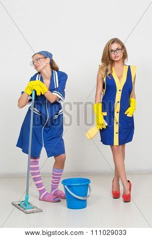 two professional cleaners. sexy busty girl and ugly.