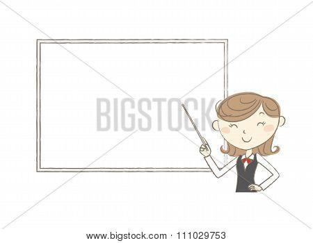 Female Clerk Holding A Pointer