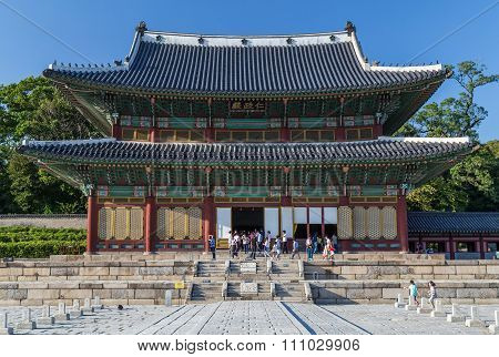 Seoul, South Korea - Circa September 2015: Injeong-jeon Hall In Changdeokgung Palace Complex In  Seo