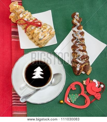 Coffee With Cream, Two Croissants And Vintage Christmas Decoration.