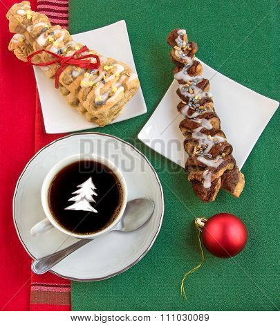 Coffee With Cream, Two Croissants And Shiny Red Ball.