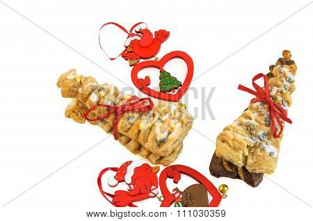 Croissants With Red Ribbon And Vintage Wooden Decorations On White.