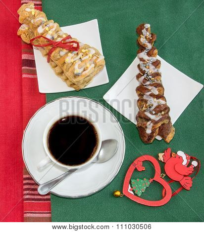Coffee, Two Croissants And Vintage Christmas Decoration.
