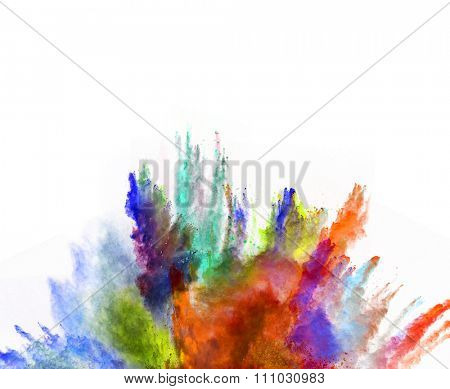 Launched colorful powder, isolated on white background