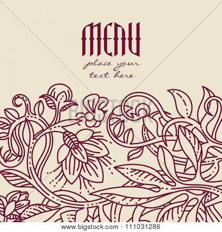 Vintage floral design elements. Template for menu, notebook cover or invitation card