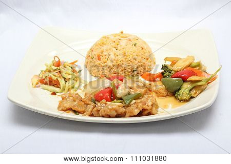 Stair Fried Fish Fillet With Fired Rice Vegetable And Salad