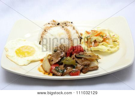Stair Fired Black Pepper Beef With White Rice