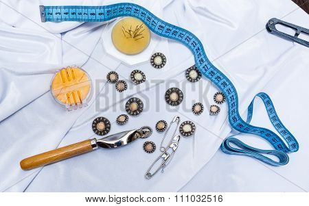 Buttons, Pins, Needles, Tape Measure. Crafts .