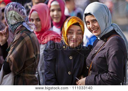 Young Turkish Women In Light Rain