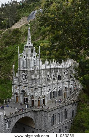 Las Lajas - Gothic Church In Colombia.