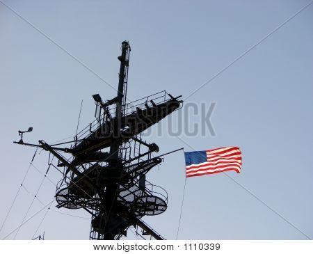 American Flag On A Ship