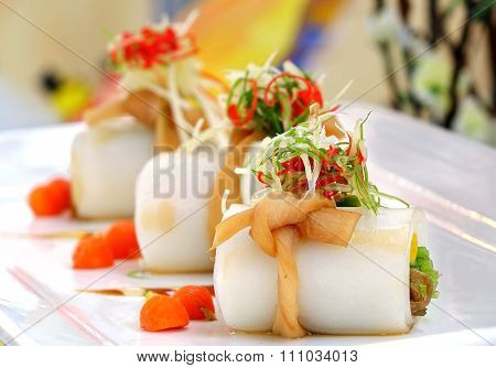 Traditional Chinese Hakka Rice Noodle Roll