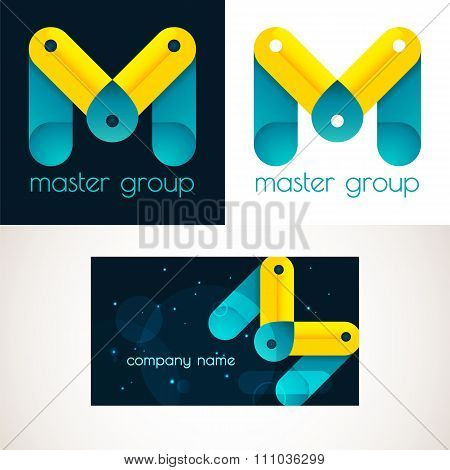 Abstract M letter vector logo icon template. Creative abstract M logotype
