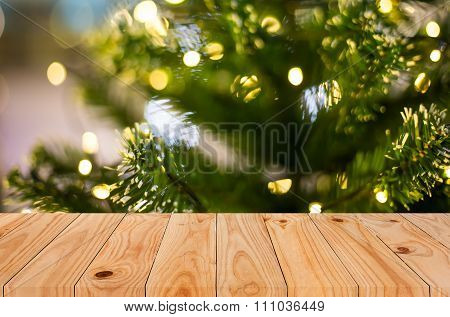 Christmas Holiday Background With Empty Wooden Deck Table Over Festive Bokeh. Ready For Product Mont