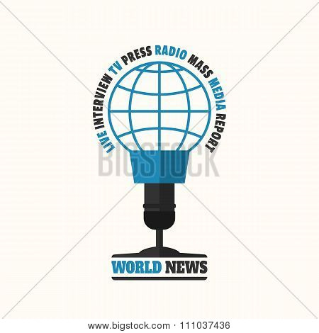 World news concept vector illustration in flat style. World news logo looks like a microphone