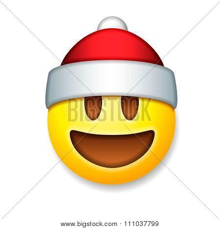 Santa Claus Emoticon laughing, holiday emoji