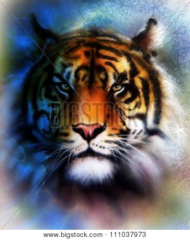 tiger collage on color abstract  background and mandala with ornamet , wildlife animals. Blue, orang