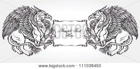 Griffin beast illustration with text frame.