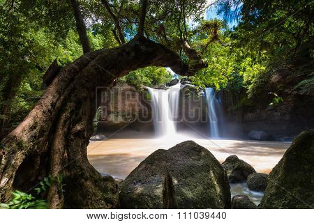 Heo Suwat Waterfall in Khao Yai National Park in Thailand.