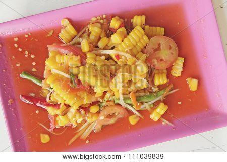 Corn Papaya Salad