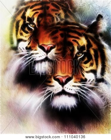 tiger collage on color abstract  background and mandala with ornamet , wildlife animals. Brown, oran