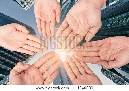 Group of hands holding together, conept of all, team, together etc.