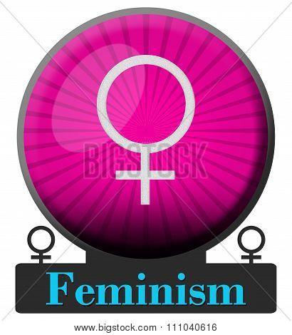 Feminism Pink Burst Circle