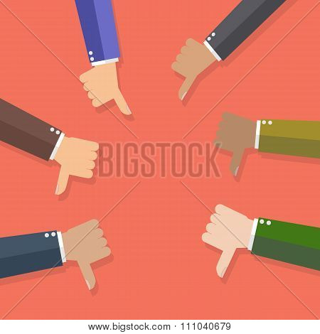 Businessman hold thumbs down