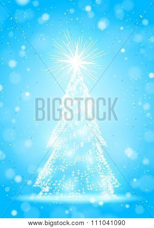 Abstract Brilliant Christmas Tree with Stars on the Blue Sparkling Background