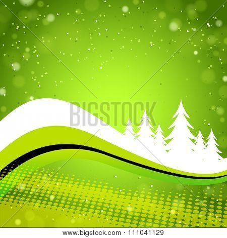 Green Winter forest background with wave elements