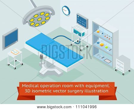 Medical operation room with equipment. 3D isometric vector surgery illustration