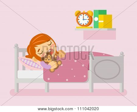 Girl sleeping in the bed. Vector illustration flat style