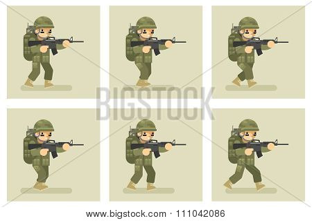 Soldier flat design run animation frames