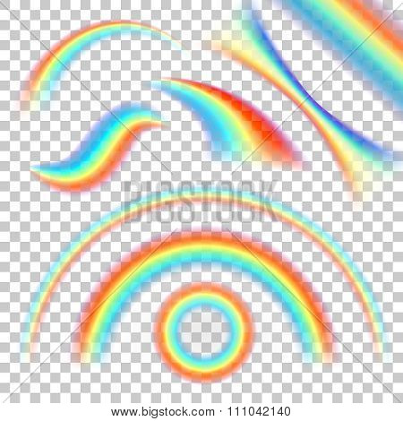 Different shape of realistic rainbows. Vector set on transparent background
