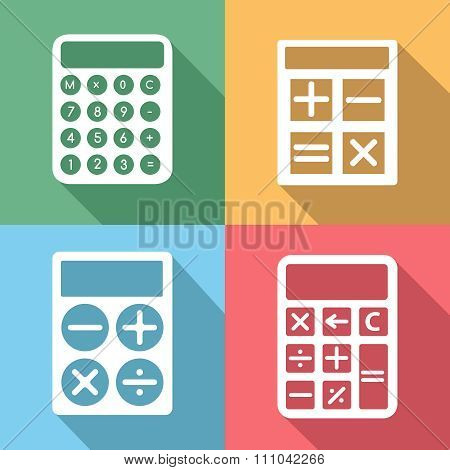 Calculator vector icons set with long shadow effect