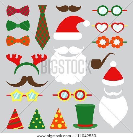 Christmas photo booth vector set