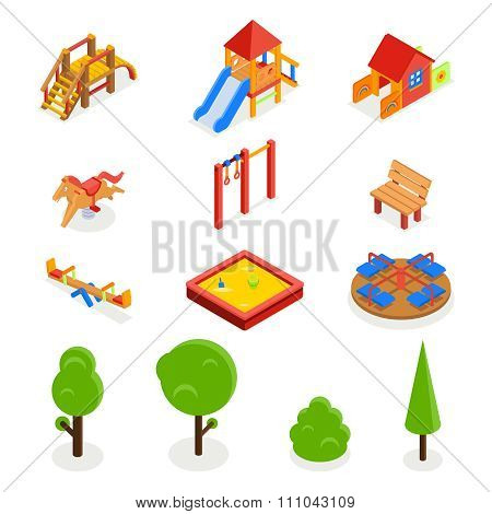 Kids isometric 3D playground. Vector icon set