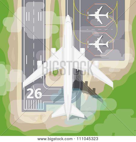 Landing airplane vector