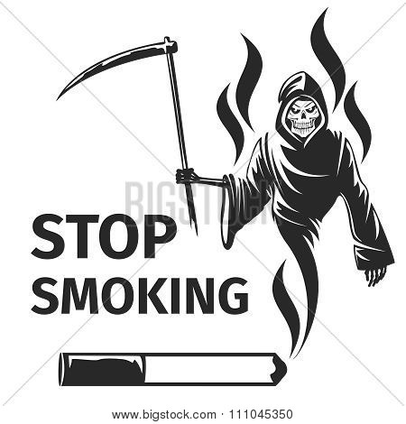 Stop smoking with death sign vector