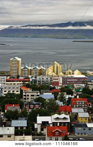 Aerial view from Hallgrimskirkja church on Reykjavik downtown and harbor