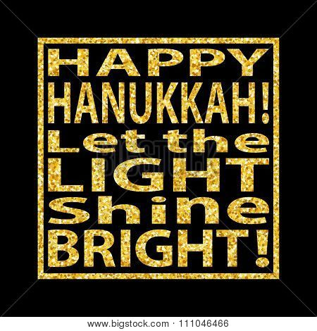 Hanukkah Quote Golden Glitter Background 2