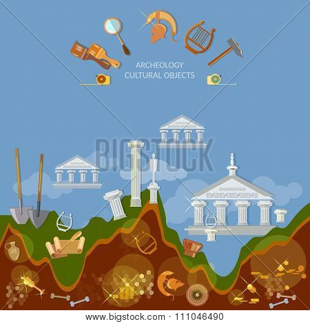 Archeology Dig Ancient Treasures Civilization Cultural Objects Search For Lost Artifacts