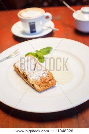 Apple Strudel With Sauce And Coffee