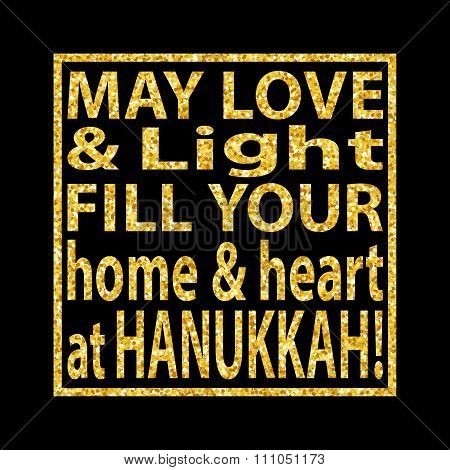 Hanukkah Quote Golden Glitter Background 3