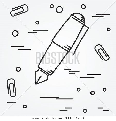 Fountain Pen Icon. Fountain Pen Icon Vector. Fountain Pen Icon Drawing. Fountain Pen Icon Image. Fou