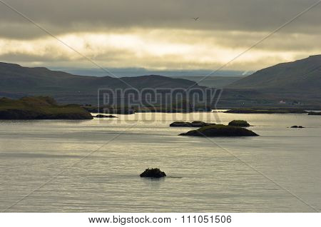 Small islands in  west Icelandic fjord near Stykkisholmur harbor